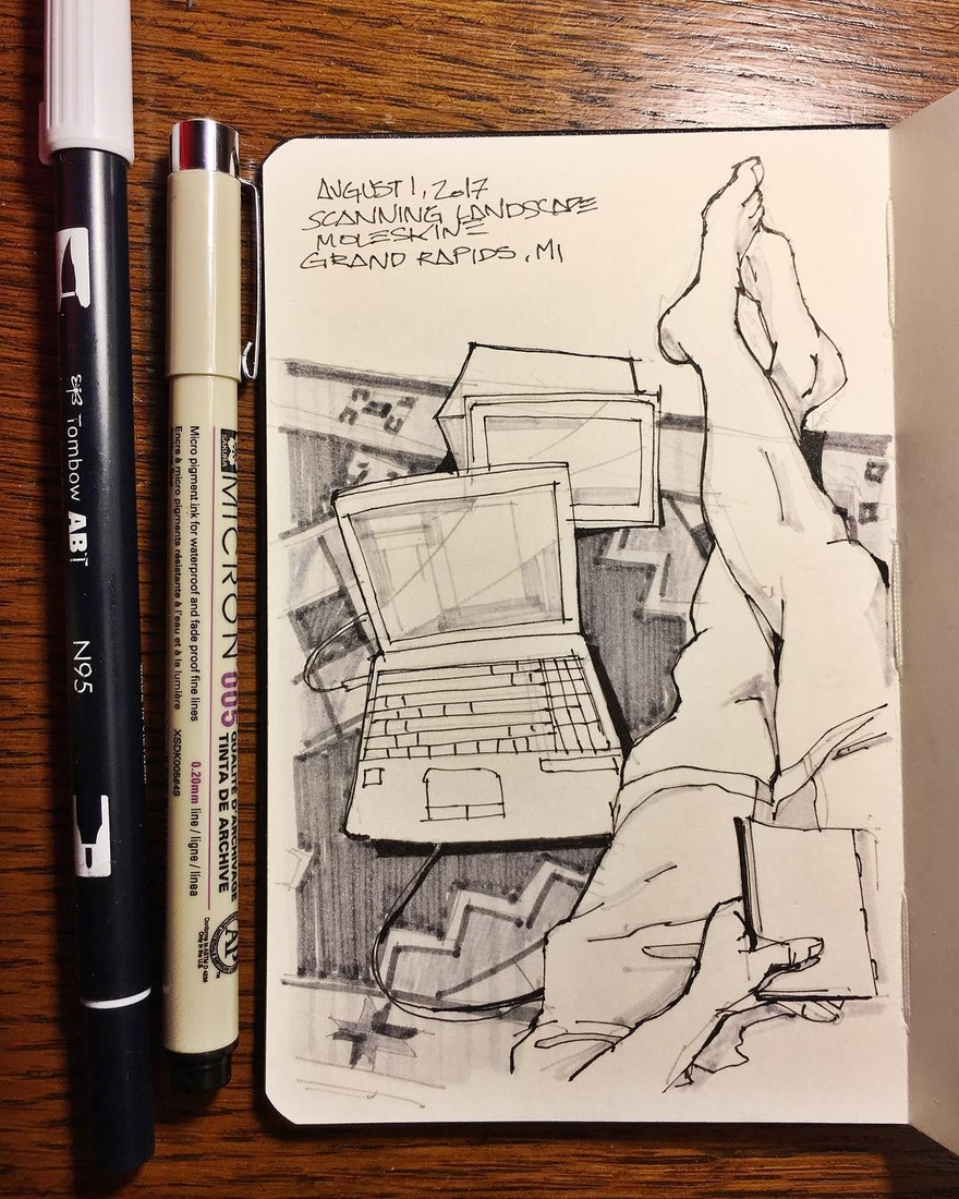 08-Passing-Time-Scanning-all-my-Drawings-Josiah-Hanchett-Urban-Sketcher-taking-in-the-views-and-Drawing-them-www-designstack-co