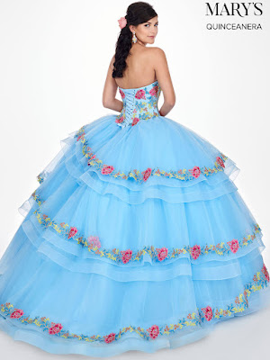 Sky Blue Color Mary's Quinceanera Ball Gown Dress back side