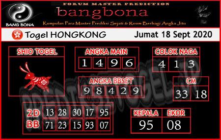 Prediksi Bangbona HK Jumat 18 September 2020