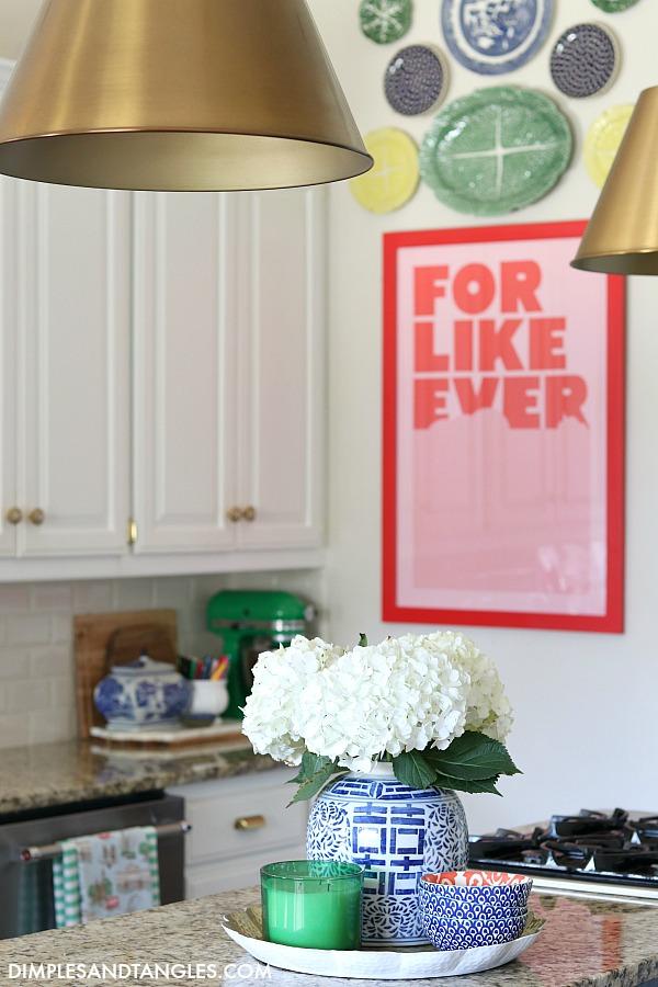 green mixer, kitchen styling