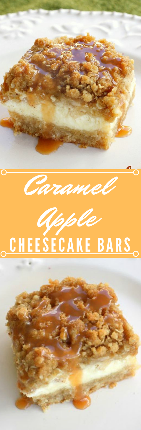CARAMEL APPLE CHEESECAKE BARS #bars #apple #dessert #cakes #healthy