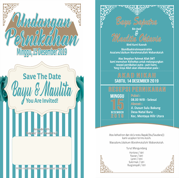 Desain Gratisan Undangan Pernikahan Bayu & Maulita