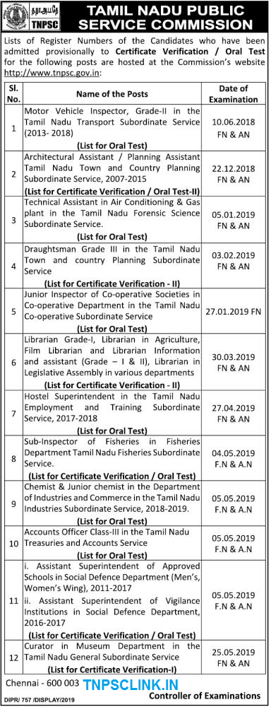 TNPSC Results List for Certification Verification/ Oral Test of Various Posts