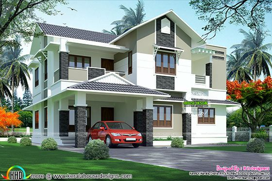 2697 sq-ft home in sloping roof style