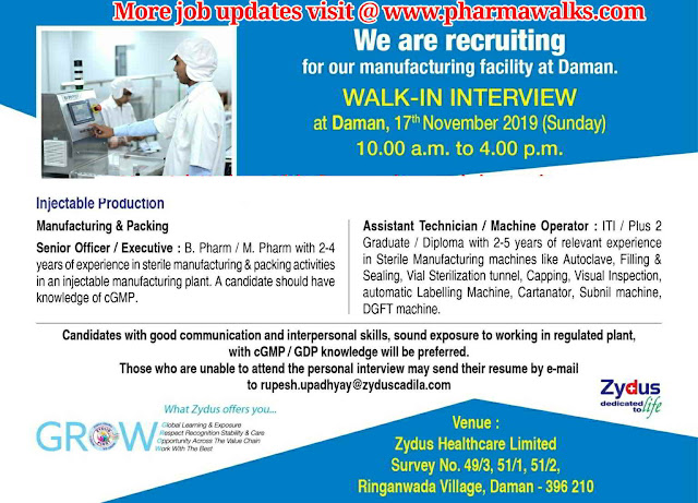 Zydus Cadila walk-in interview for Production department on 17th November, 2019 @ Daman