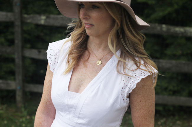 floppy hat, helen ficalora necklace