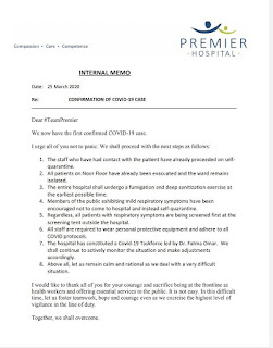 Premier Hospital circular on the William Kamoti status.