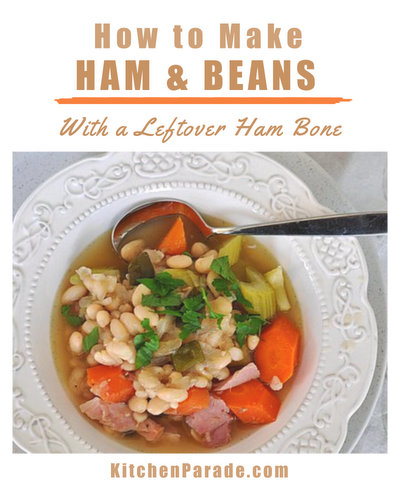 Ham & Beans ♥ KitchenParade.com, an easy, budget-friendly one-pot supper that makes best use of a leftover ham bone. High Protein. Weight Watchers Friendly.