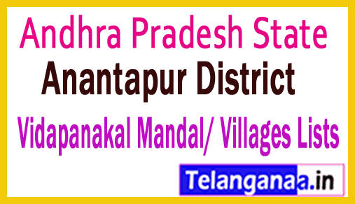 Vidapanakal Mandal Villages Codes Anantapur District Andhra Pradesh State India
