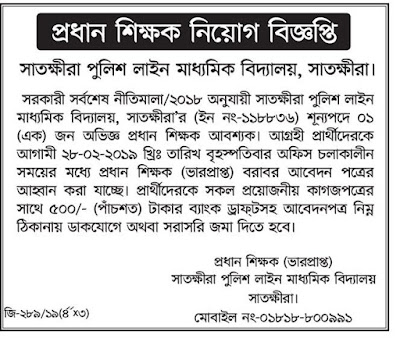 Headmaster Job Circular In 2019  MPO