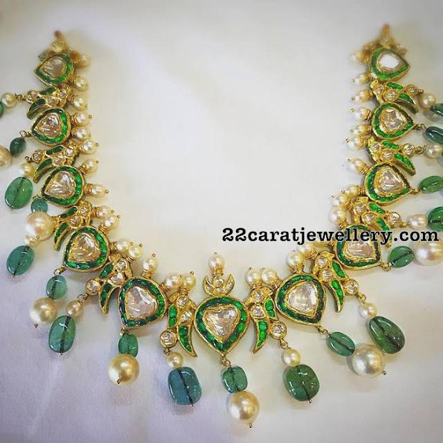 Diamond Emerald Choker with Drops by Mangatrai