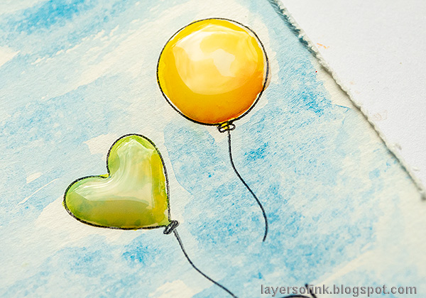 Layers of ink - Balloons, hearts and a cute turtle. Encouragement card tutorial by Anna-Karin Evaldsson. Add glossy accents.