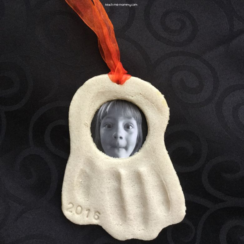 ghost salt dough handprint craft with photo