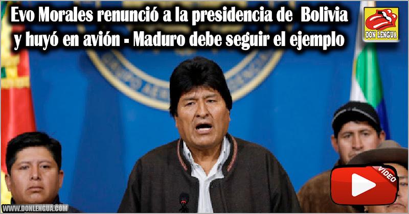 Evo Morales renunció a la presidencia de  Bolivia y huyó en avión - Maduro debe seguir el ejemplo