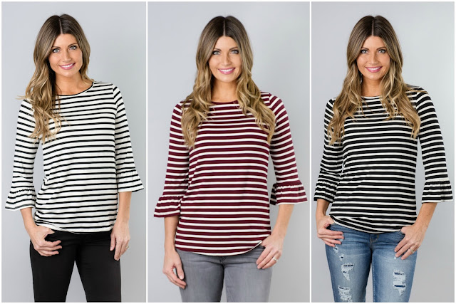 Jane: Striped Ruffle Sleeve Tops only $20 (reg $40)!