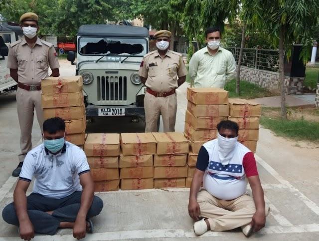 चिड़ावा पुलिस ने अवैध देशी शराब 36 पेटियों मय डी आई जीप सहित दो आरोपीयो को किया गिरफ्तार