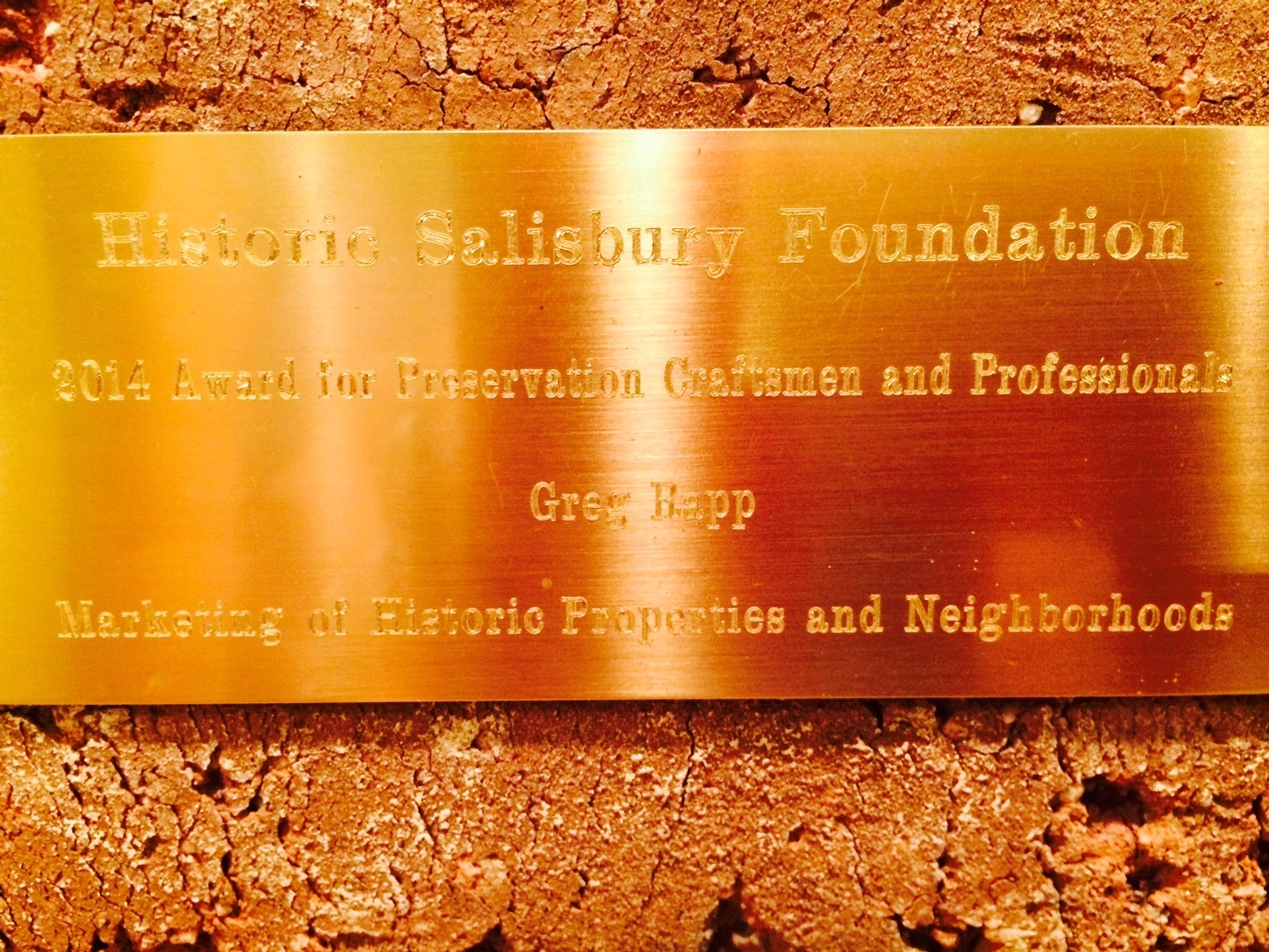 Greg Rapp | Recognized by Historic Salisbury Foundation