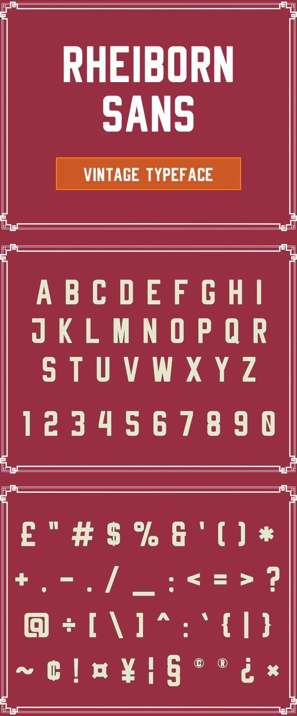 Vintage Font Gratis Terbaik - Rheiborn Sans Free Vintage Font