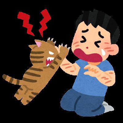 飼い主をひっかく猫のイラスト