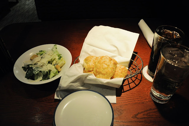 Complimentary caesar salad and bread at the Red Lobster, Times Square, New York City, New York
