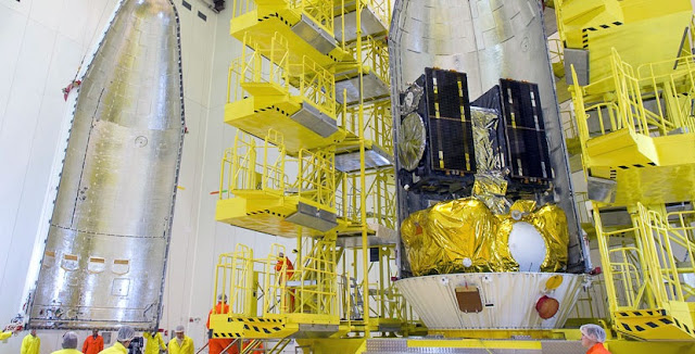 The Galileo 13 and 14 satellites are encapsulated in their two-piece protective payload fairing. Photo Credit: Arianespace