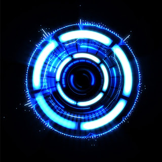 Blue circle with curved white lights and small lines that complete the circular shape on a black background