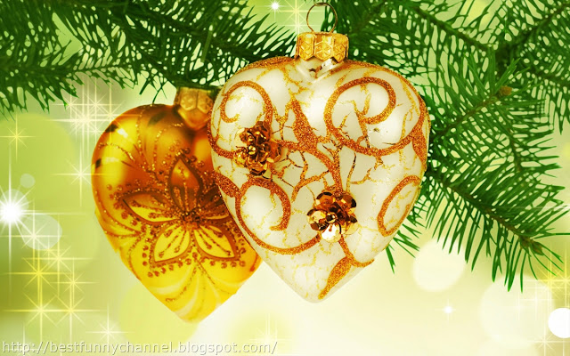 Two Gold Christmas hearts.