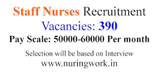 390 Staff Nurses Recruitment 50000-60000 Salary Per Month