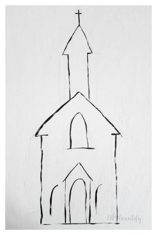 outline church in black acrylic