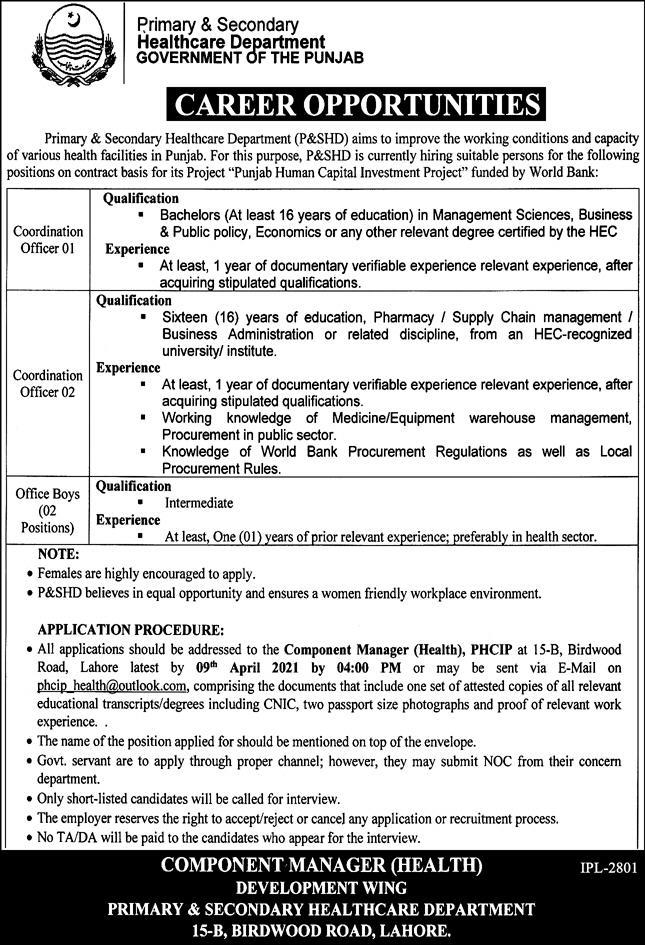 government,primary & secondary healthcare department lahore,coordination officer,latest jobs,last date,requirements,application form,how to apply, jobs 2021,