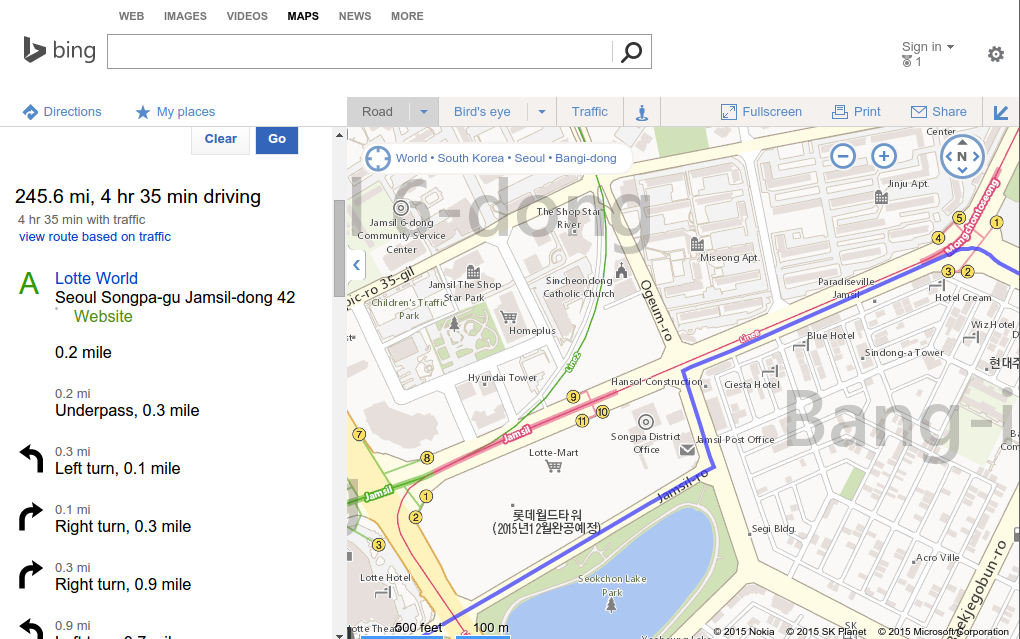 10원 Tips: Bing Maps shows driving directions in Korea