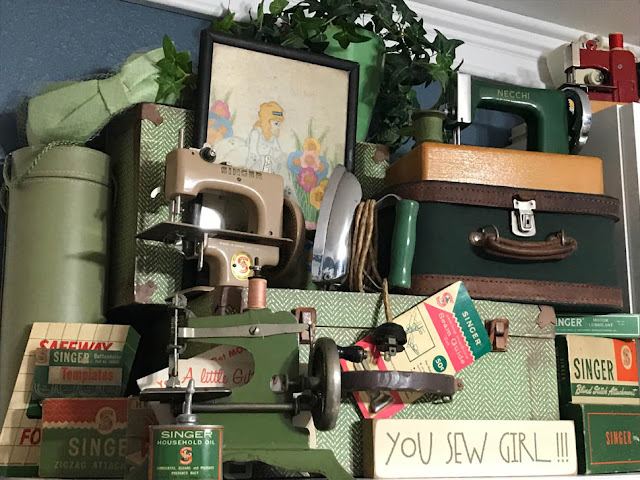 Vintage Toy Sewing Machines & Notions in Thistle Thicket Studio. www.thistlethicketstudio.com