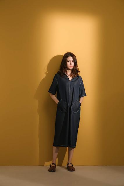 小眾生活壓線大口袋洋裝-單寧藍模特兒實穿