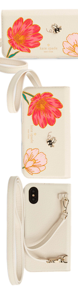KATE SPADE NEW YORK iPhone X Embroidered Bee Leather Folio Crossbody