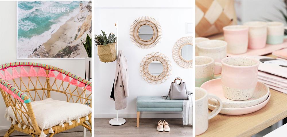 sillón diy fibras naturales, espejo redondo de bambú y vajilla de cerámica artesanal pintada