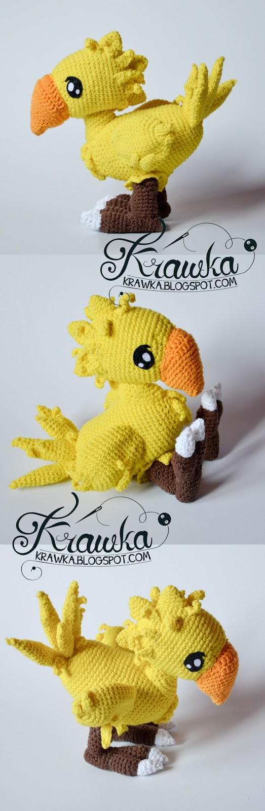 Krawka: Chocobo final fantasy inspired crochet pattern : https://www.etsy.com/listing/478361823/chocobo-final-fantasy-crochet-pattern-by?ref=shop_home_active_1