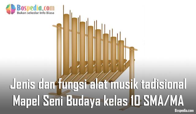 Materi Jenis dan fungsi alat musik tadisional Mapel Seni Budaya kelas 10 SMA/MA