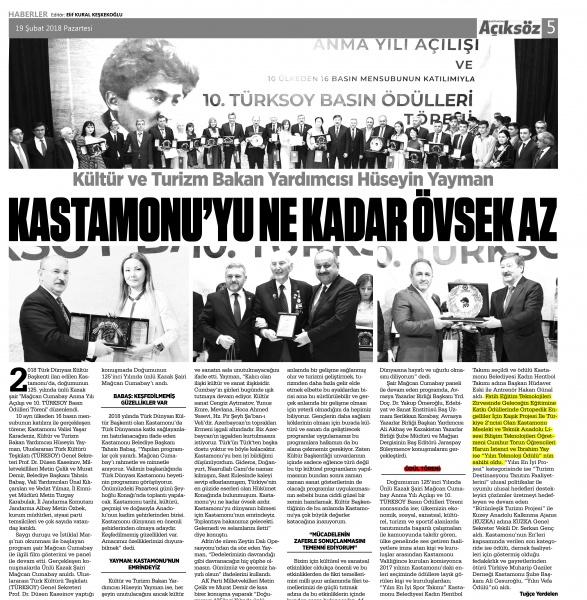 Kültür ve Turizm Bakanı Hüseyin Yayman; Kastamonu'yu ne kadar övsek az. - Basında Harun İstenci
