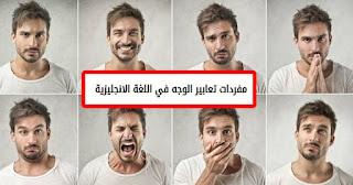 بعض مفردات تعابير الوجه في اللغة الانجليزية ومعانيها باللغة العربية