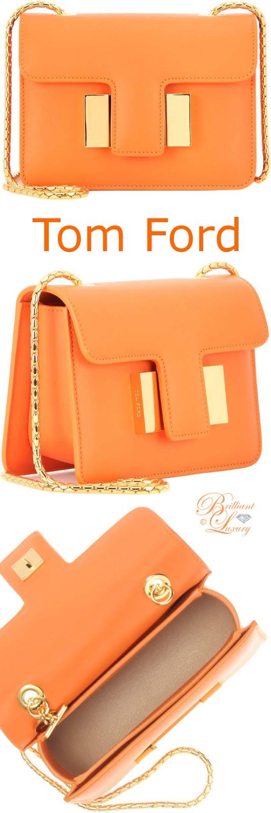 Brilliant Luxury ♦ Tom Ford Sienna leather shoulder bag #orange