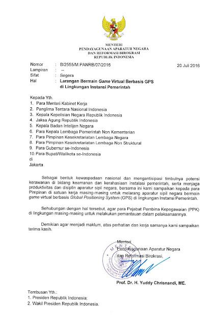 Surat Menpan RB Nomor : B/2555/M.PANRB/07/2016 Tentang Larangan Bermain Game Berbasis GPS di Lingkungan Instansi Pemerintah