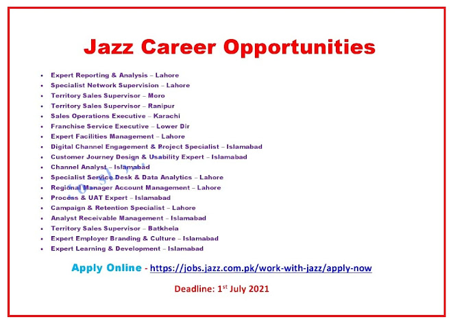 Jazz Company Latest Jobs for Sales Operations Executive,Territory Sales Supervisor & Other Posts - Apply online