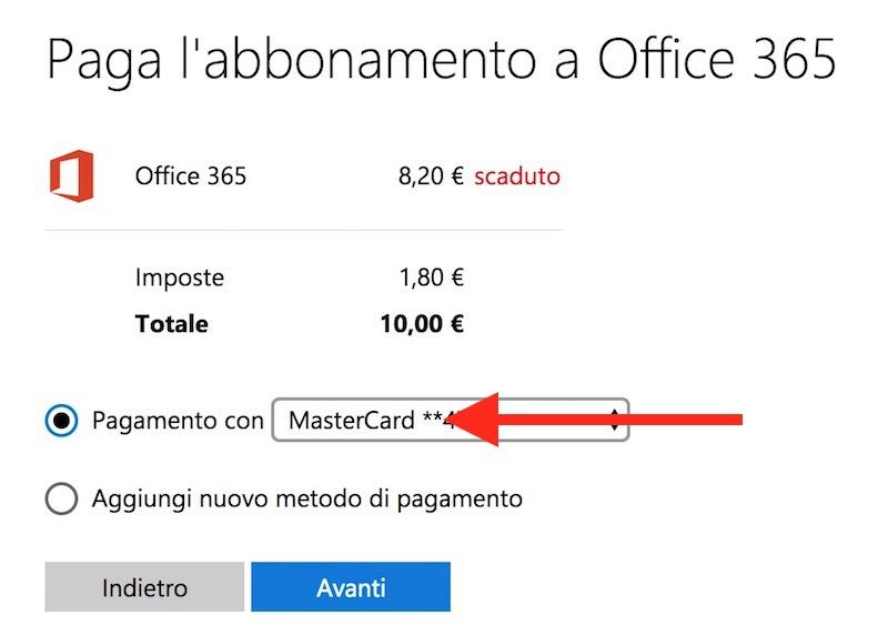 impostare la modalità di pagamento di Office 365