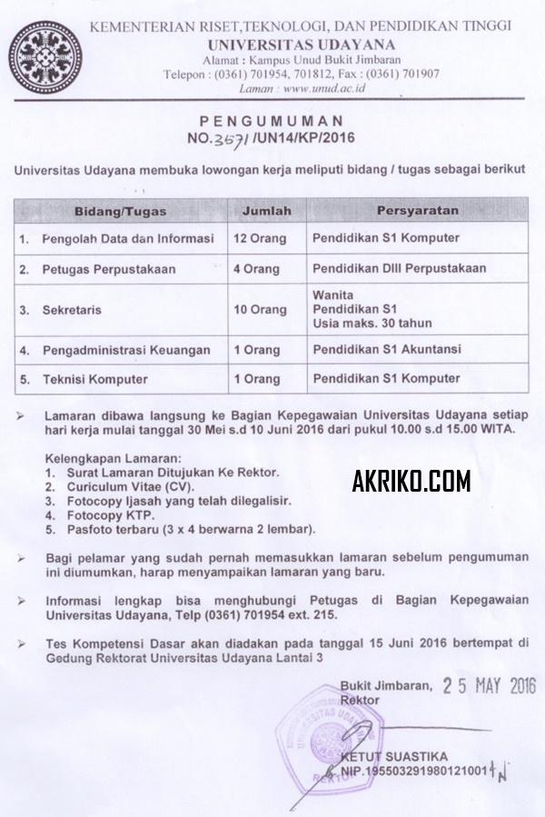 Lowongan Pekerjaan Pegawai Kontrak di Universitas Udayana