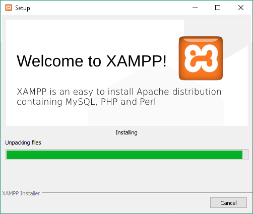 XAMPP - Installing progress