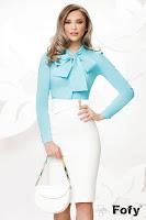 Camasa eleganta turquoise cu funda maxi si accesoriu tip brosa