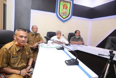 Bupati Asahan Video Conference dengan Gubernur Eddy Rahmayadi.