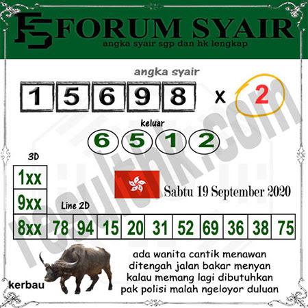 Forum Syair HK Sabtu 19 September 2020