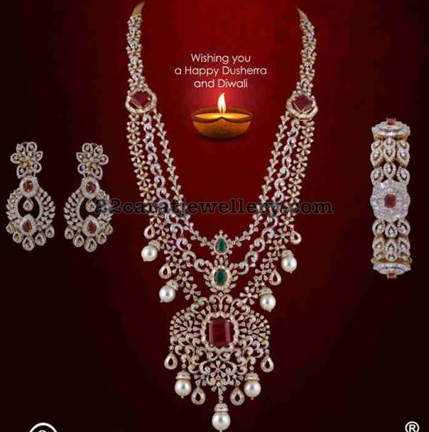3 Rows Diamond Set by Satyanarayana Jewellers