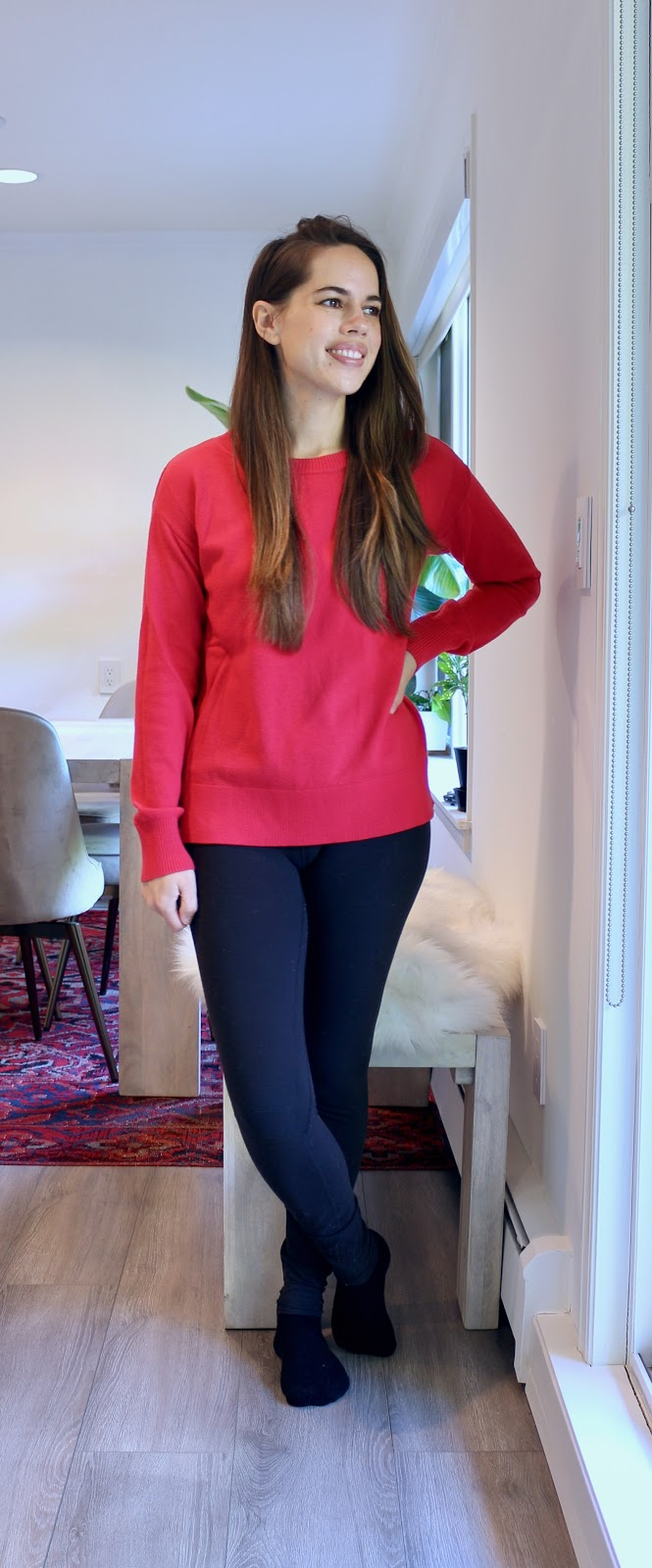 Jules in Flats - Red Sweater with Leggings (Easy Work from Home Outfit)